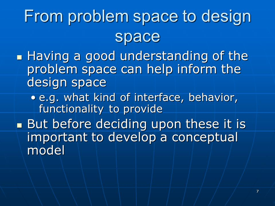 From problem space to design space