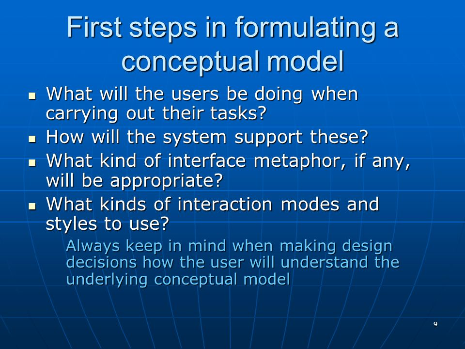 First steps in formulating a conceptual model