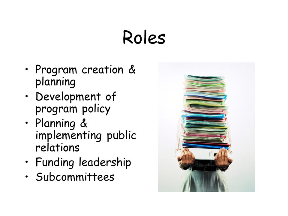 Roles Program creation & planning Development of program policy