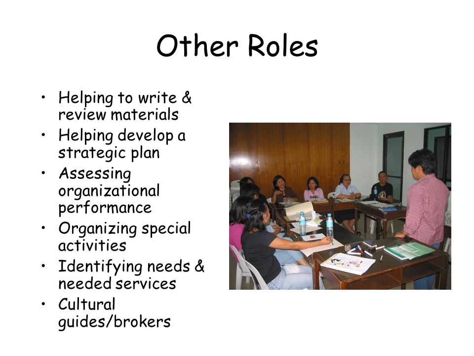 Other Roles Helping to write & review materials