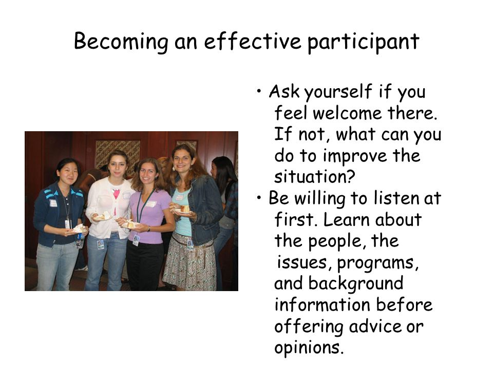 Becoming an effective participant
