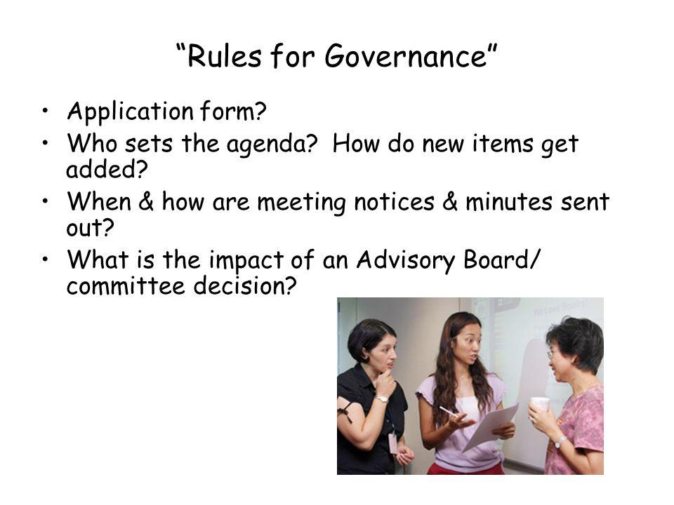Rules for Governance