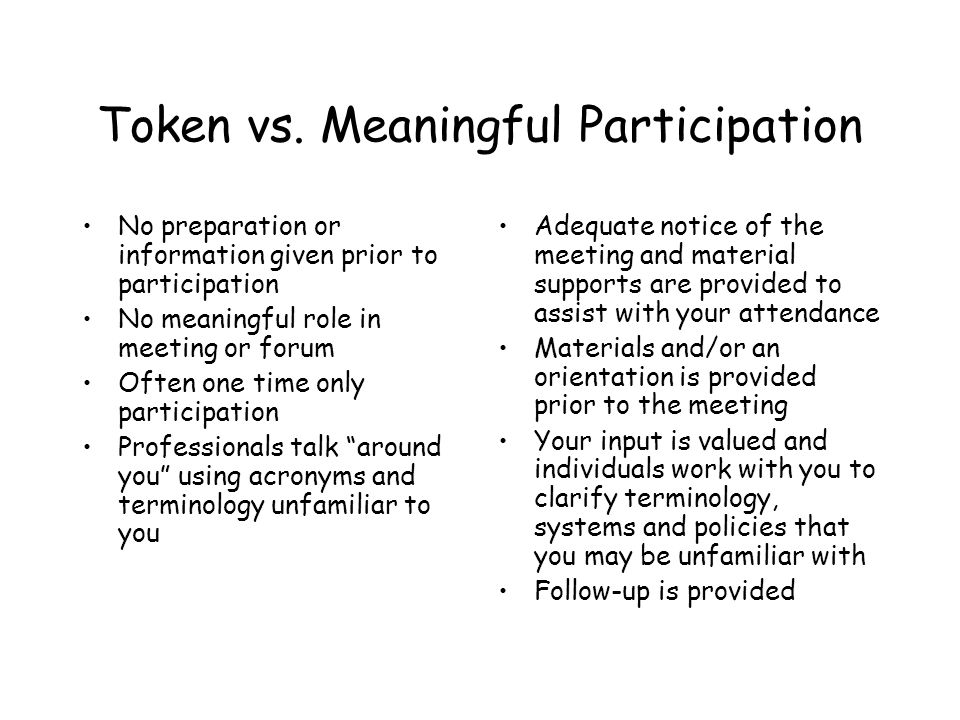 Token vs. Meaningful Participation