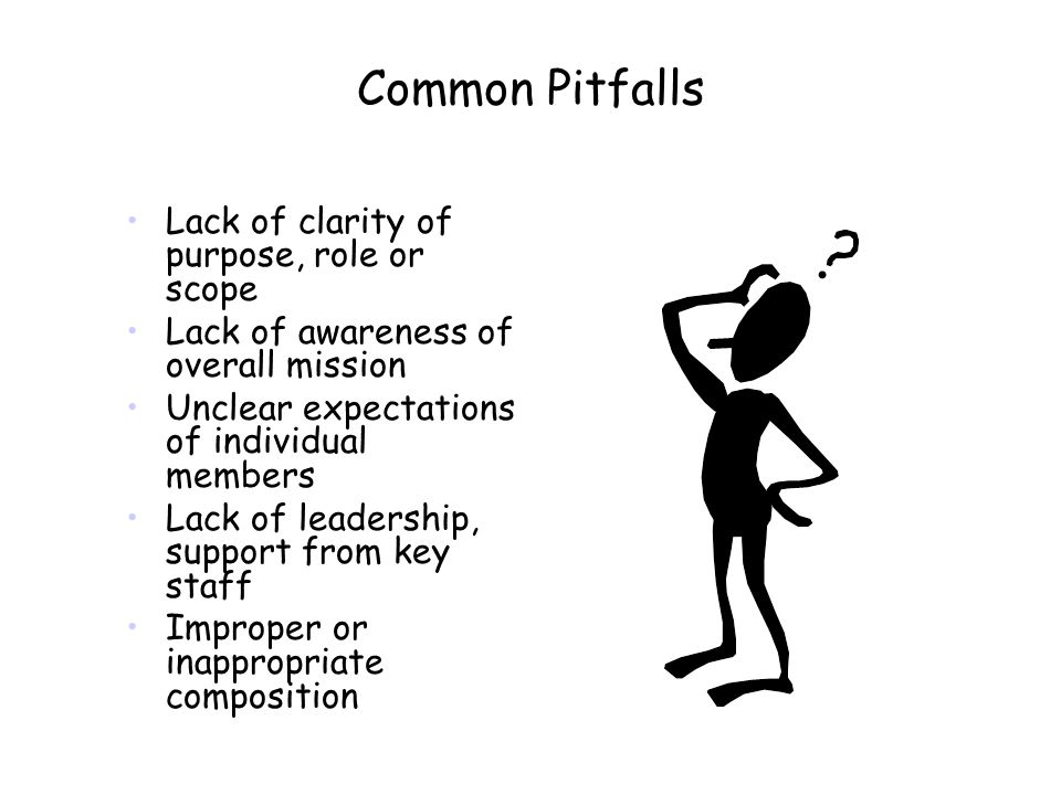 Common Pitfalls Lack of clarity of purpose, role or scope