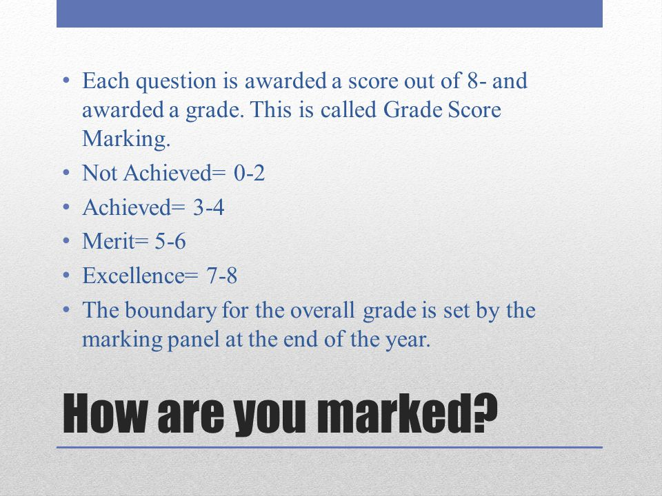 Each question is awarded a score out of 8- and awarded a grade
