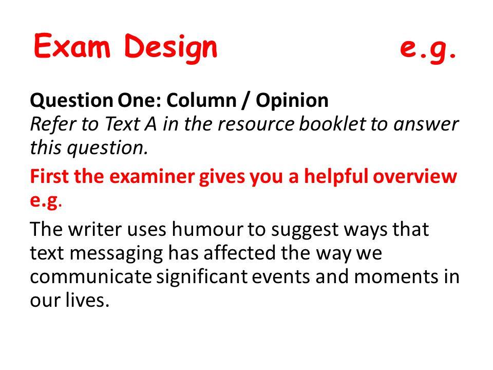 Exam Design e.g.