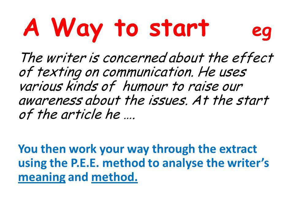 A Way to start eg