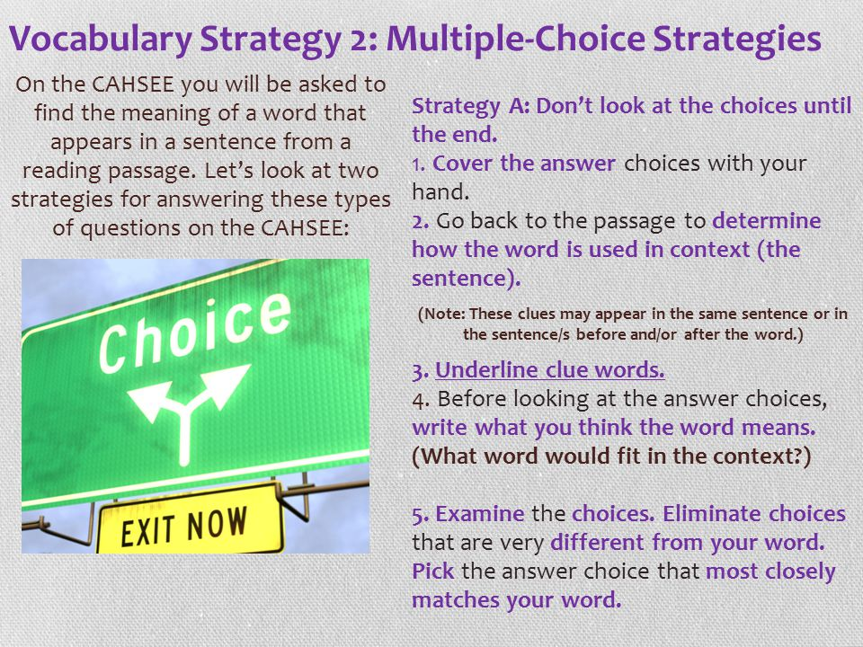 Vocabulary Strategy 2: Multiple-Choice Strategies