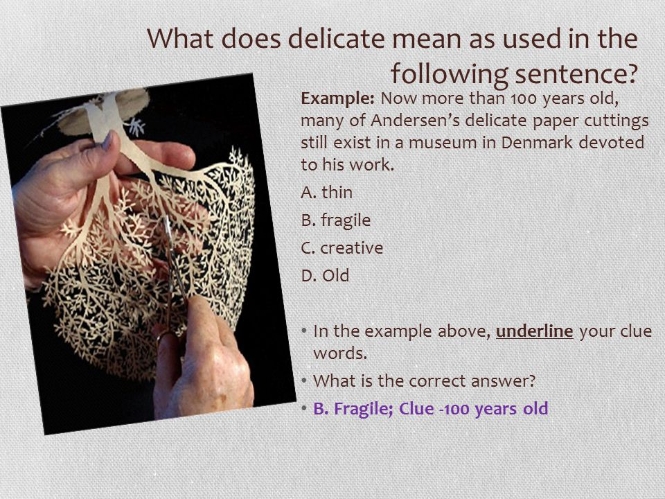 What does delicate mean as used in the following sentence