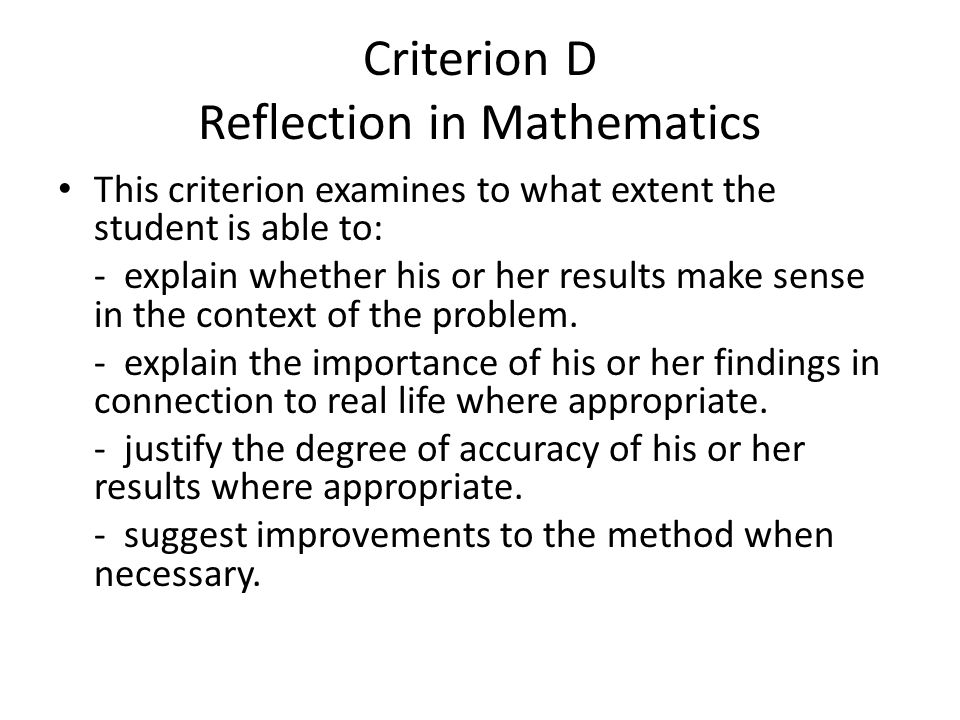 Criterion D Reflection in Mathematics