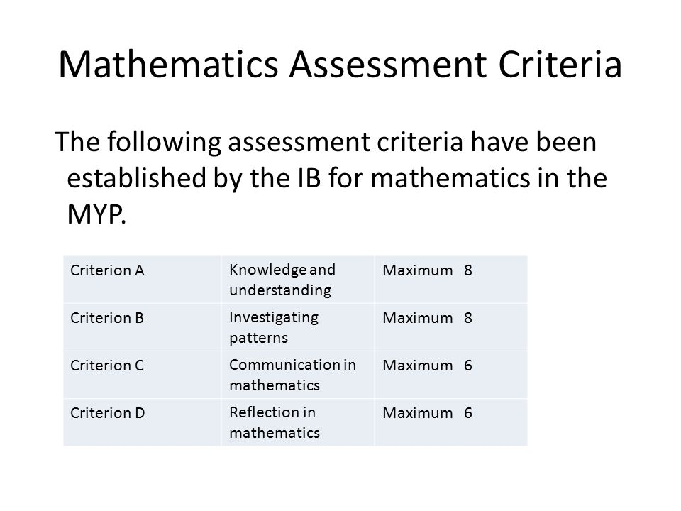 Mathematics Assessment Criteria