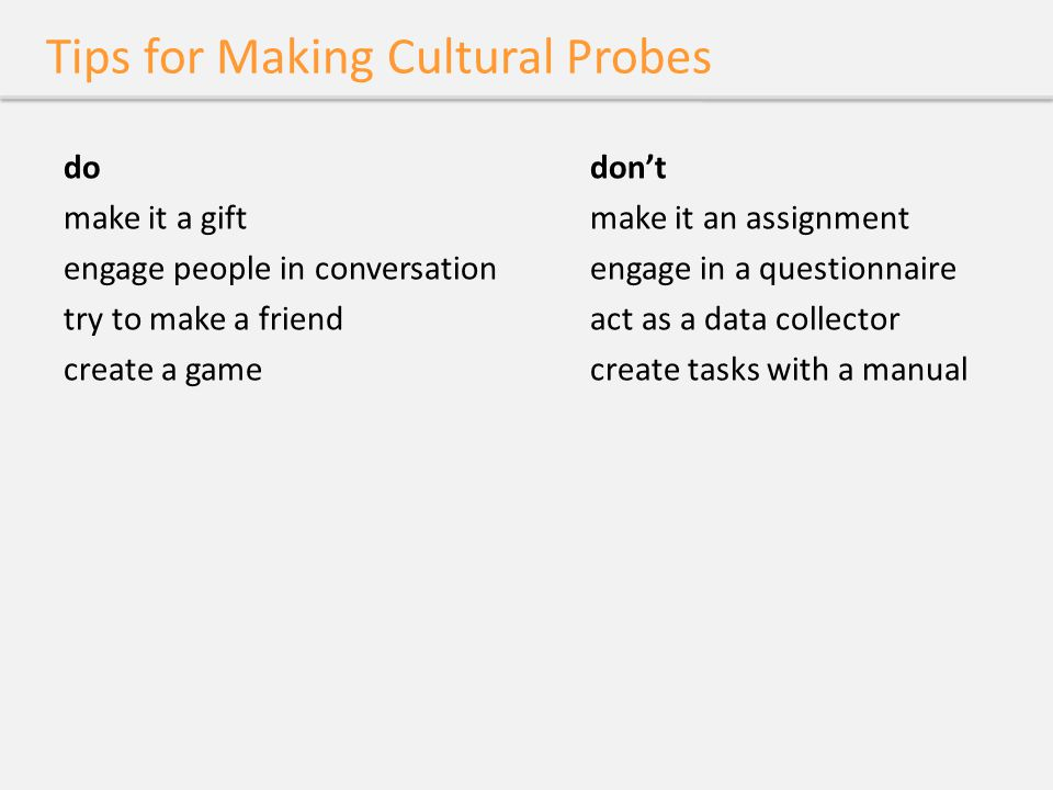 Tips for Making Cultural Probes