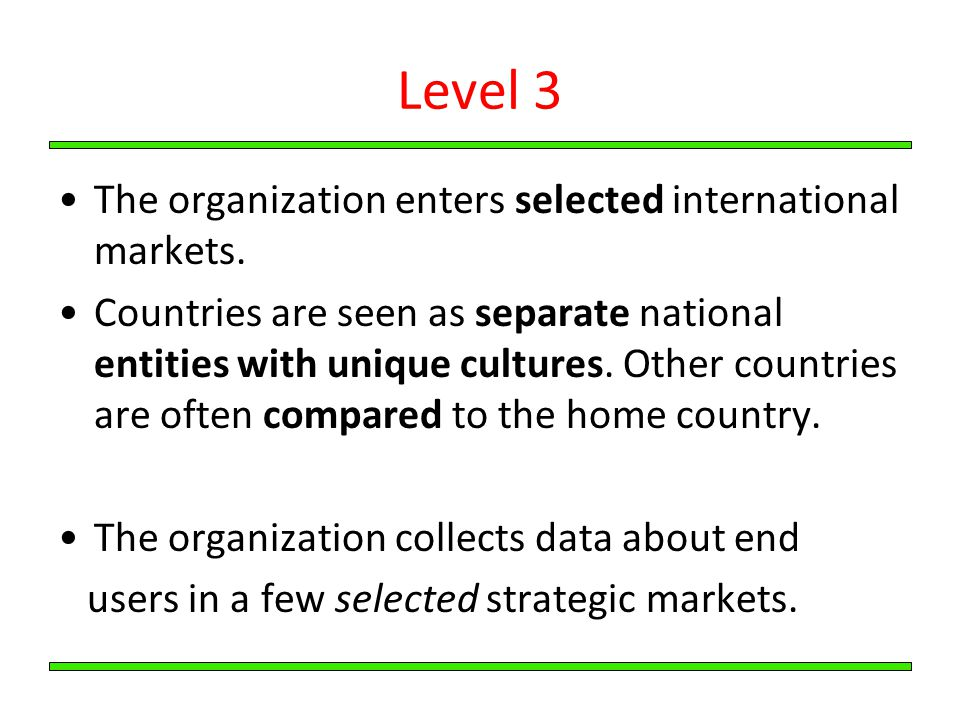 Level 3 The organization enters selected international markets.