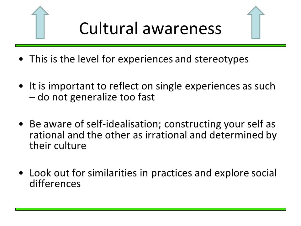 Cultural awareness This is the level for experiences and stereotypes