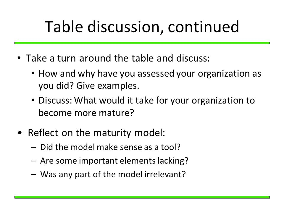 Table discussion, continued