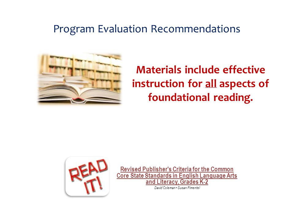 Program Evaluation Recommendations