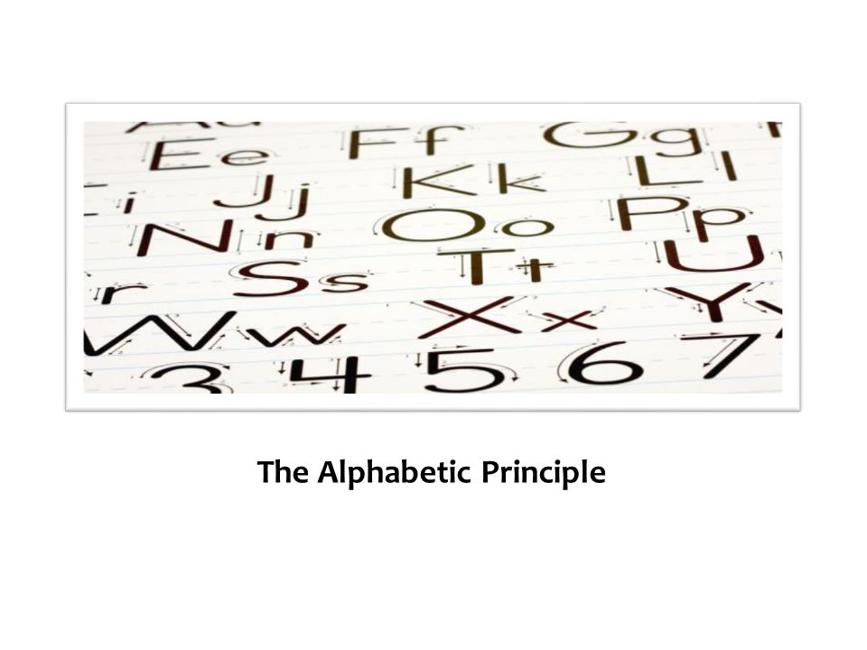 The Alphabetic Principle