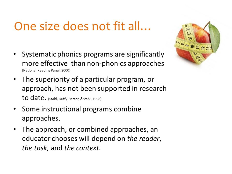 One size does not fit all…
