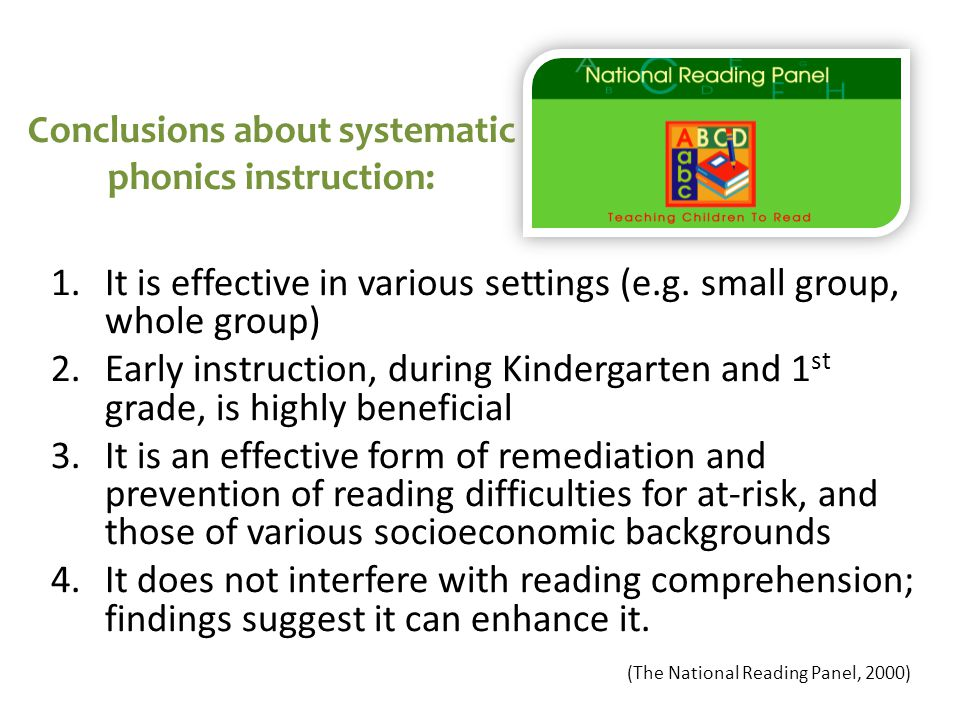 a discussion on the place of phonics in the reading process They believe that once these are in place this may involve group discussion systematic phonics often read aloud to children and encourage invented spelling.