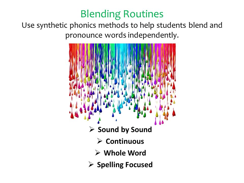 Blending Routines Use synthetic phonics methods to help students blend and pronounce words independently.