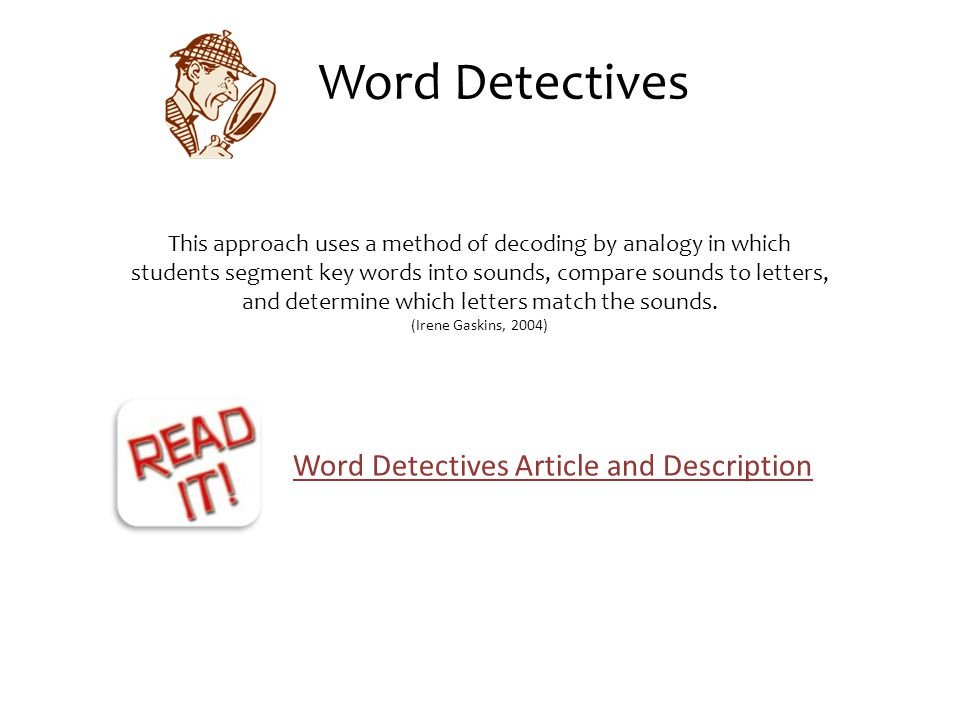 Word Detectives Article and Description