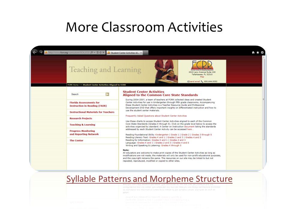 More Classroom Activities