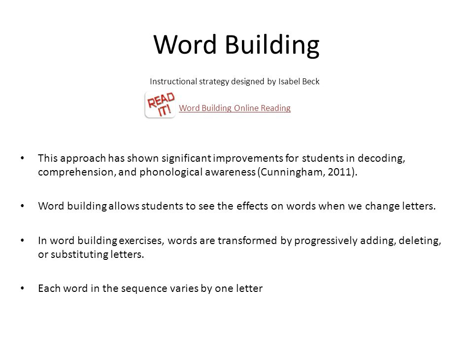 Word Building Instructional strategy designed by Isabel Beck. Word Building Online Reading.