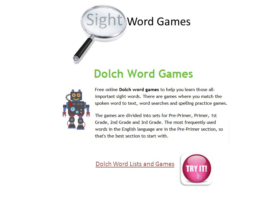 Dolch Word Lists and Games