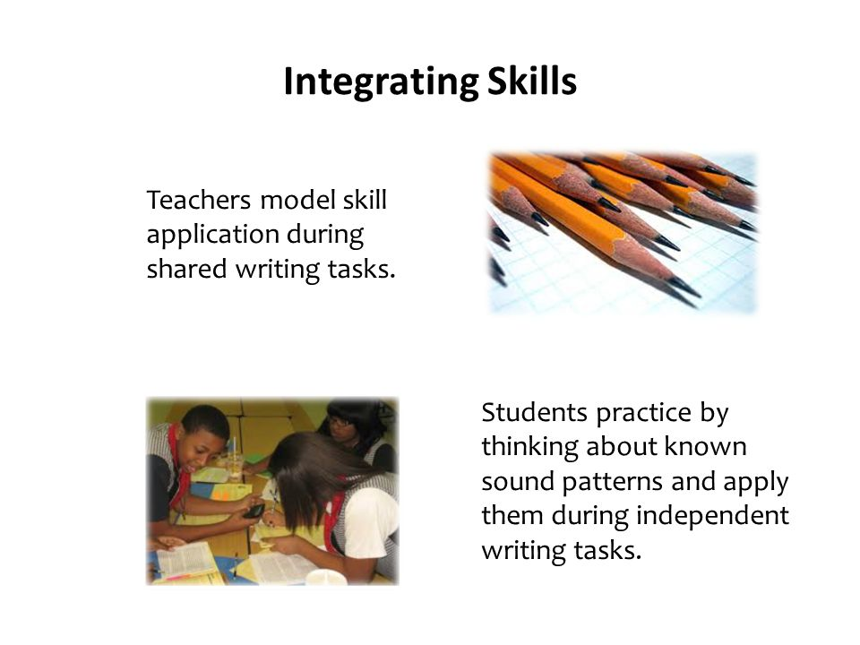 Integrating Skills Teachers model skill application during shared writing tasks.