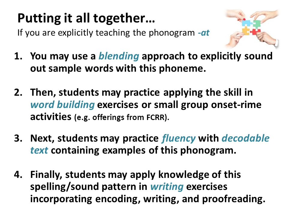 Putting it all together… If you are explicitly teaching the phonogram -at