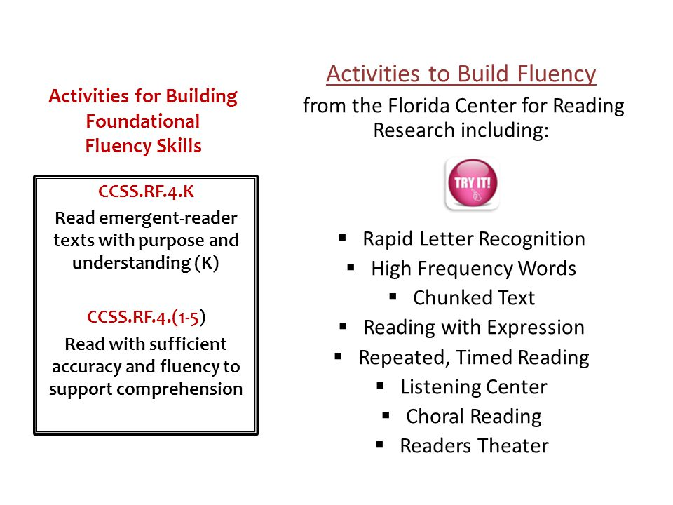 Activities for Building Foundational Fluency Skills