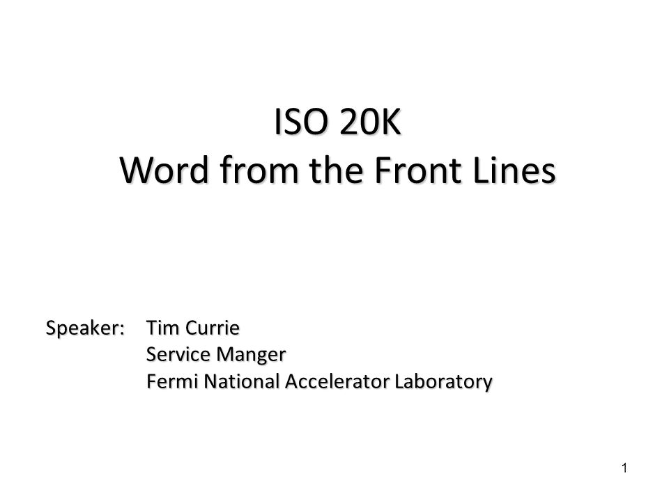 ISO 20K Word from the Front Lines