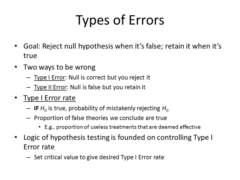 Types of Errors Goal: Reject null hypothesis when it's false; retain it when it's true. Two ways to be wrong.