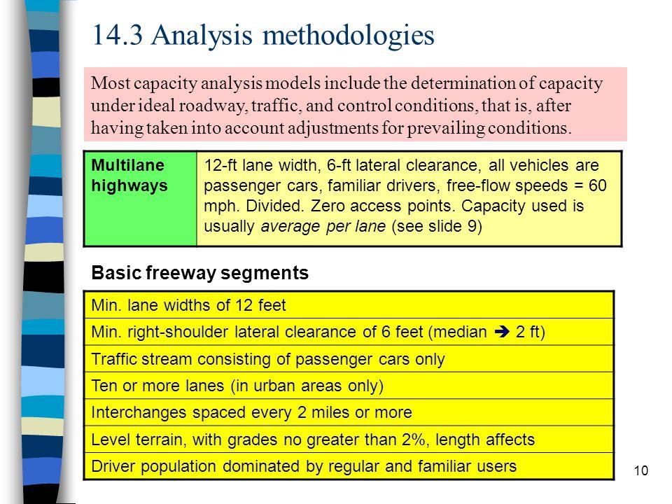 14.3 Analysis methodologies