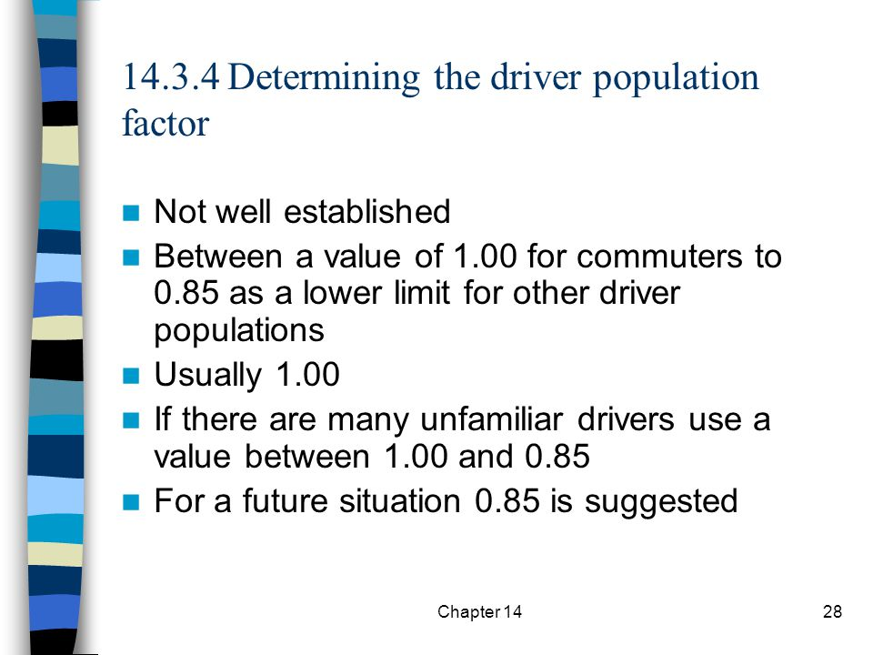 14.3.4 Determining the driver population factor