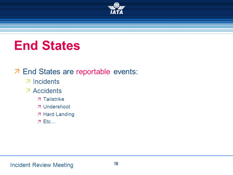 End States End States are reportable events: Incidents Accidents