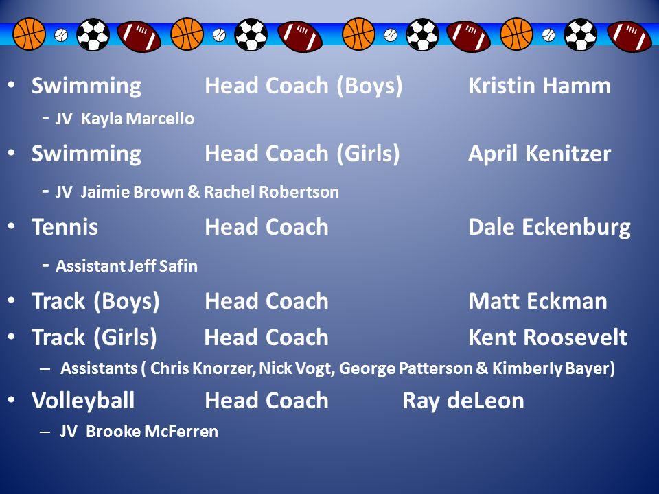 Swimming Head Coach (Boys) Kristin Hamm - JV Kayla Marcello