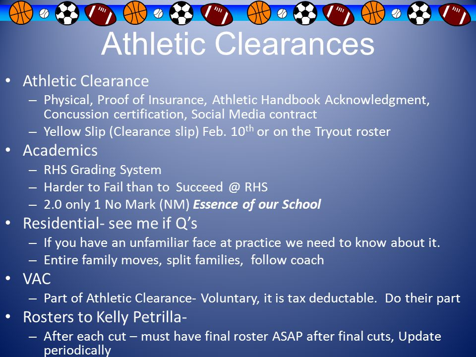 Athletic Clearances Athletic Clearance Academics