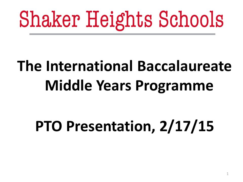 The International Baccalaureate Middle Years Programme