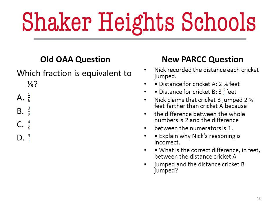 Old OAA Question New PARCC Question