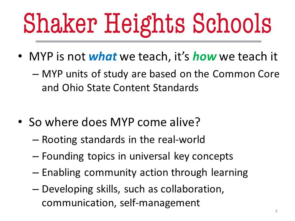 MYP is not what we teach, it's how we teach it