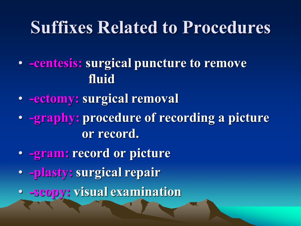 Suffixes Related to Procedures