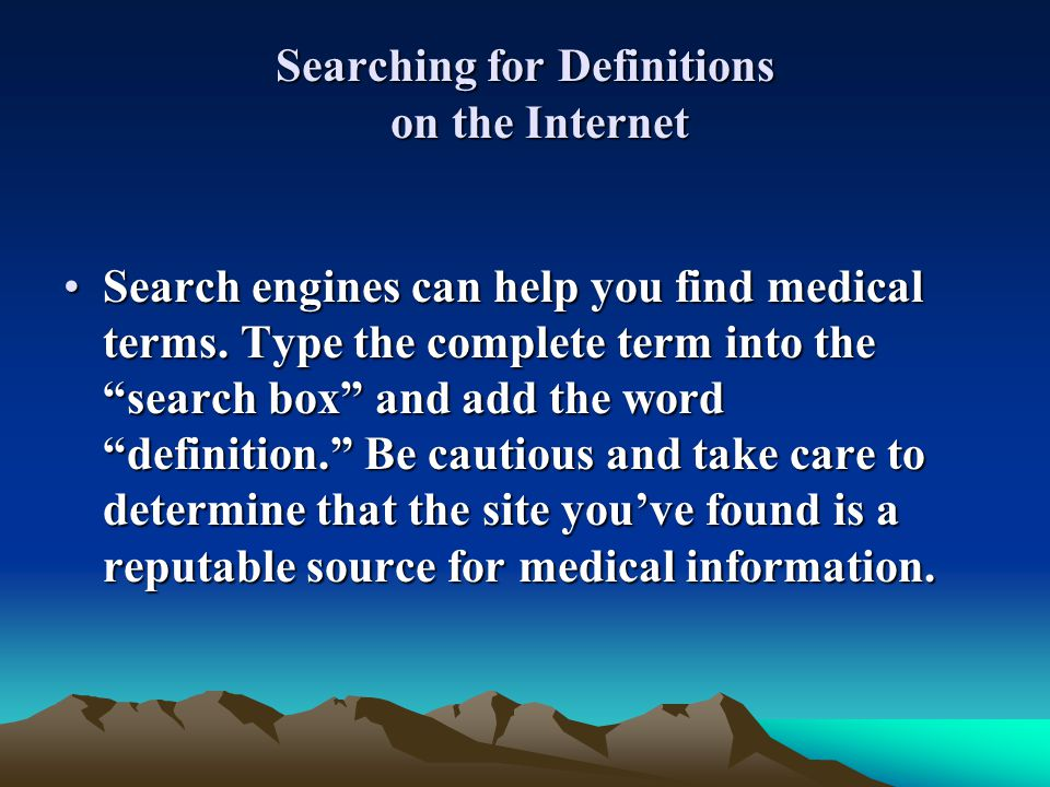 Searching for Definitions on the Internet