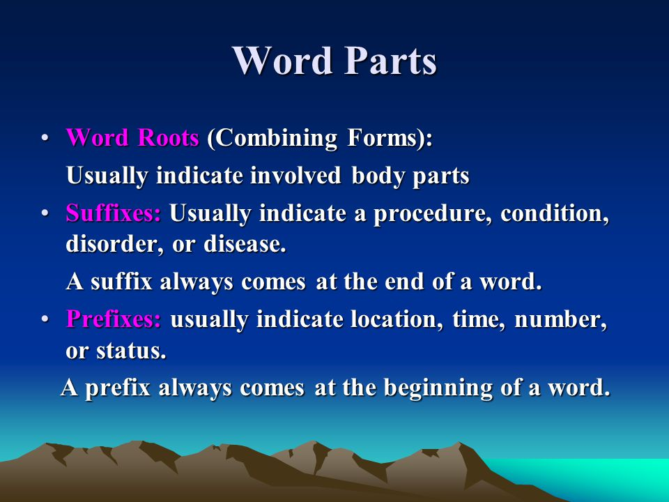 Word Parts Word Roots (Combining Forms):