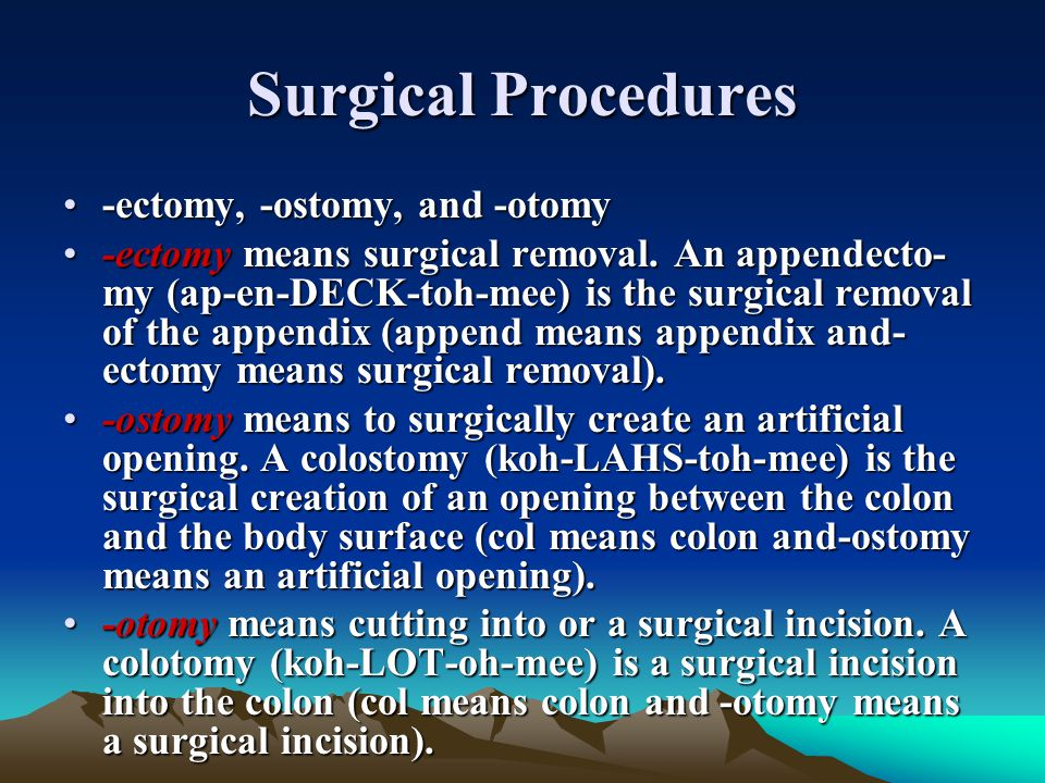 Surgical Procedures -ectomy, -ostomy, and -otomy