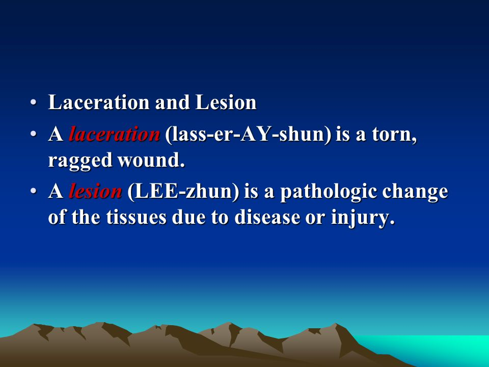 Laceration and Lesion A laceration (lass-er-AY-shun) is a torn, ragged wound.