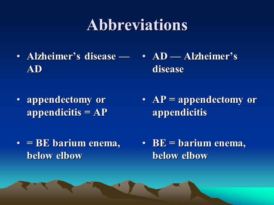 Abbreviations Alzheimer's disease — AD