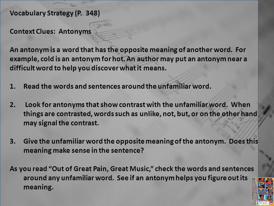 Vocabulary Strategy (P. 348)