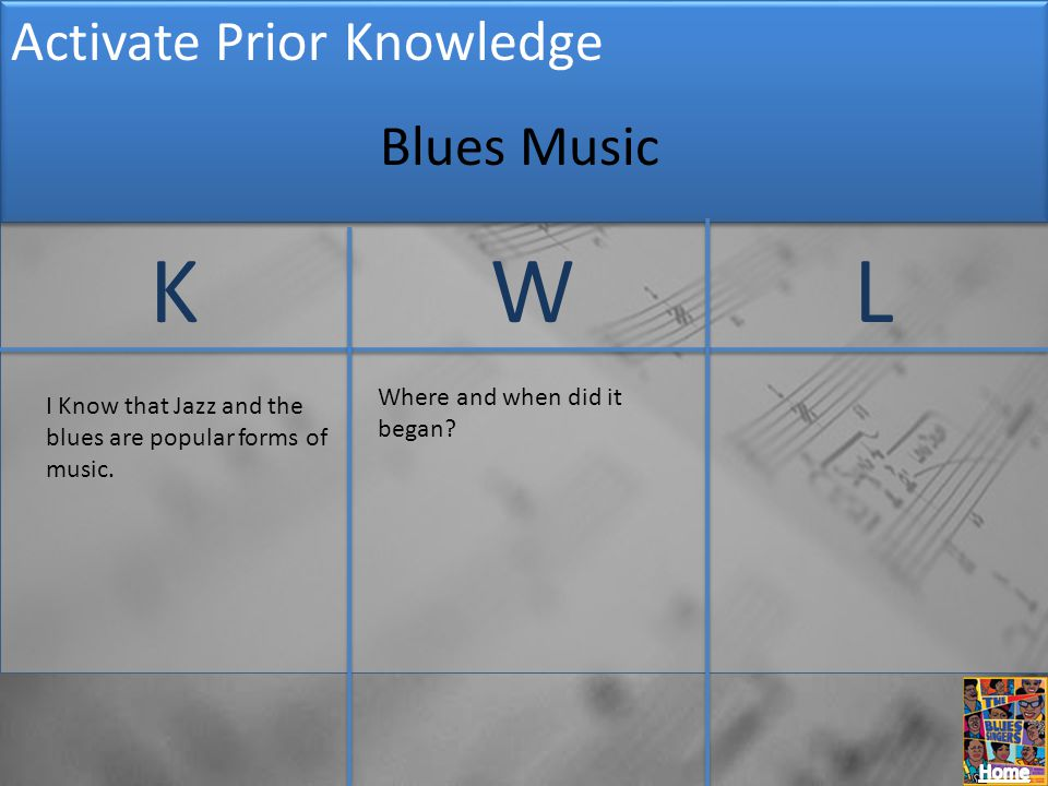 K W L Activate Prior Knowledge Blues Music