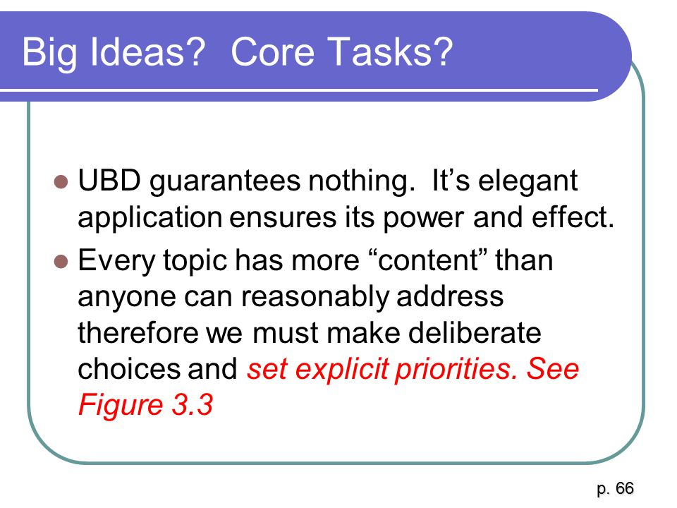 Big Ideas Core Tasks UBD guarantees nothing. It's elegant application ensures its power and effect.
